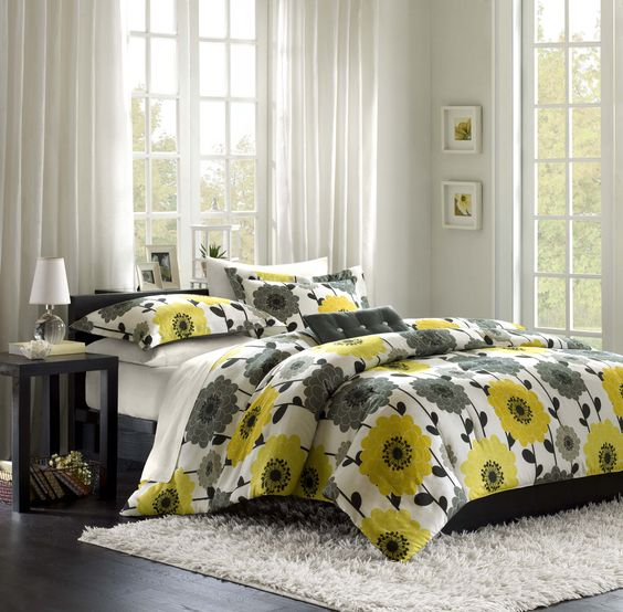 Yellow and gray comforter set bedroom color ideas gray for Bright yellow bedroom ideas