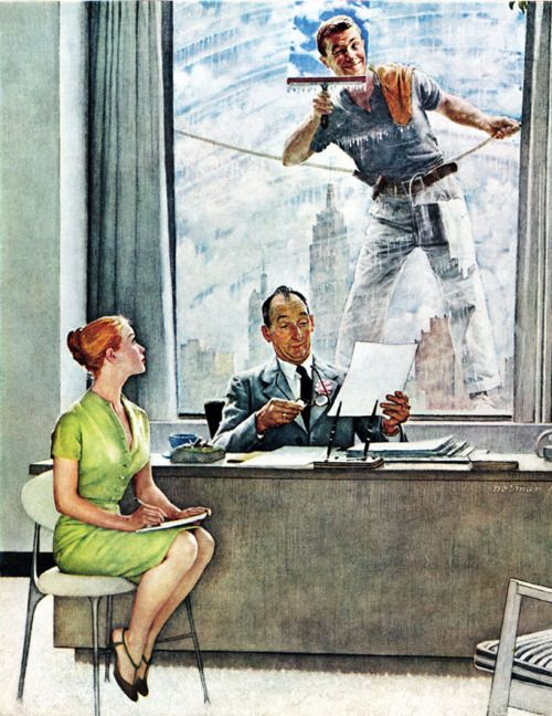 punchlinesandpanels:    The Window Washer. Norman Rockwell, 1960.