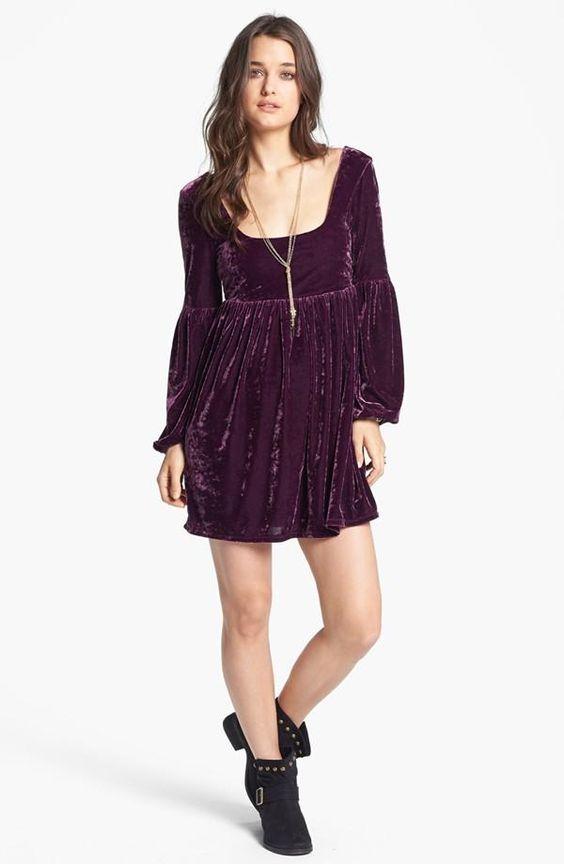 Free People Purple Velvet Babydoll Dress | Moda | Pinterest ...
