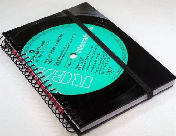 DIN A5 - Notizbuch aus Schallplatte A6 - ein Designerstück von Aurum bei DaWanda