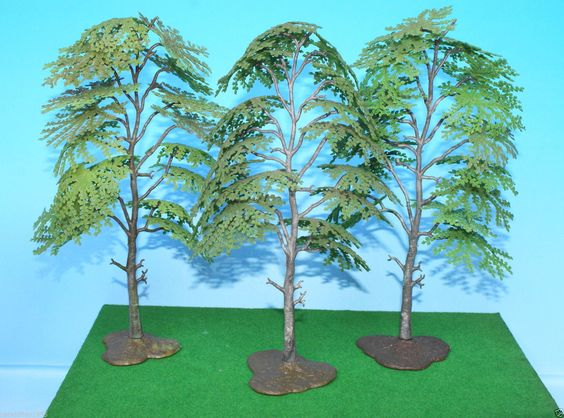 Britains 1960s Tree Models Trio of 1806 Silver Birch for