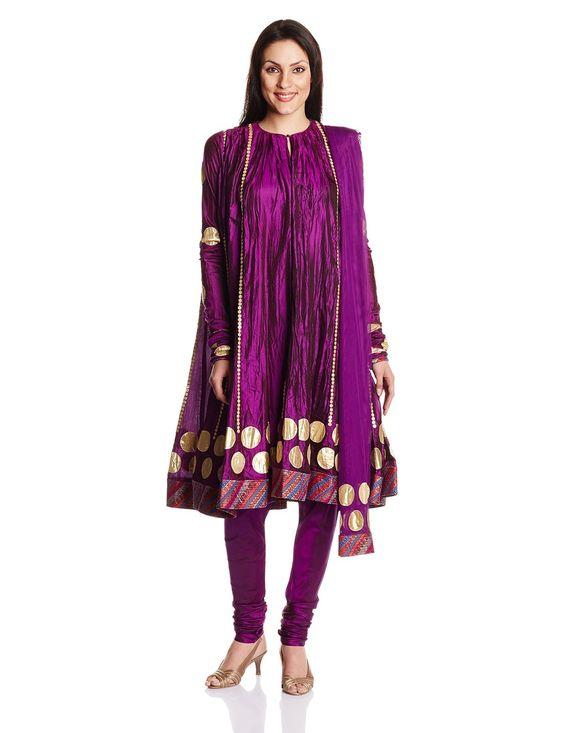 Biba By Rohit Bal Women'S Silk Anarkali Salwar Suit: Amazon.in
