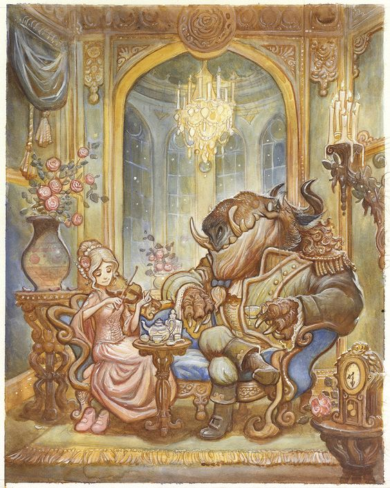 Beauty and the Beast By Justin Gerard // This one's almost whimsical with the way the room and her hair is down as well as her just casually playing the violin. Plus, it makes me laugh because his snout looks more like a whale's mouth.:
