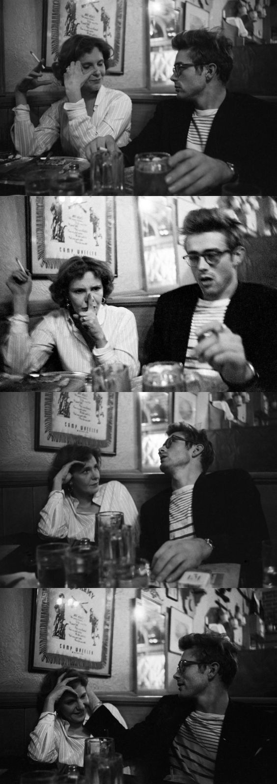 James Dean and Geraldine Page (The Immoralist) at Jerryâs Bar in New York.
