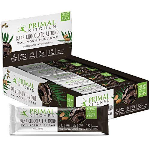 Primal Kitchen Dark Chocolate Almond Collagen Protein Bars 12g Of Protein Paleo Approved Pa Dark Chocolate Almonds Chocolate Almonds Collagen Protein Bars