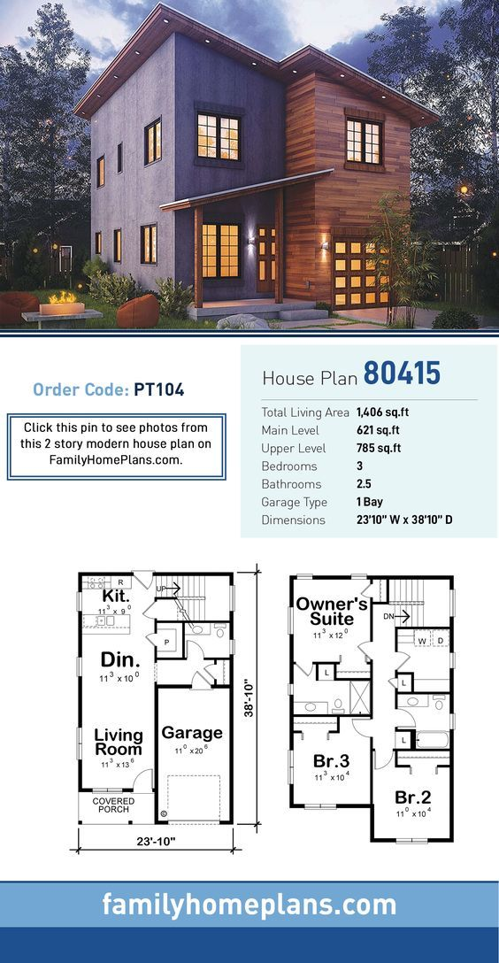 Modern Style House Plan 80415 With 3 Bed 3 Bath 1 Car Garage Family House Plans Modern Style House Plans House Plans