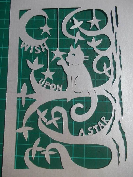 Original, hand drawn, 'Wish upon a star' papercut features a cat in a tree, the moon and stars. Very cute. By Nina Byers