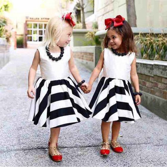 Black Striped Bowknot Tutu Dresses kids clothes stripe girls dress Summer