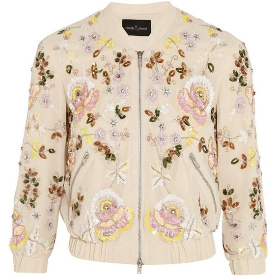 Needle & Thread Embellished georgette bomber jacket (€395) found on Polyvore featuring women's fashion, outerwear, jackets, coats, coats & jackets, casacos, pink, floral jacket, pink jacket and beaded jacket: