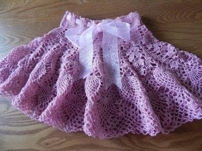 falda para niña tejida a crochet