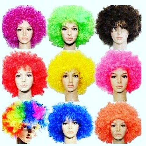 80s Curly Afro Wig Multi Colour Funky Disco Circus Clown Fancy Dress Costume