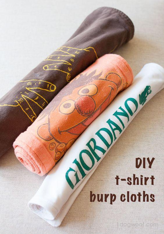 DIY t-shirt burp cloths - adorable!