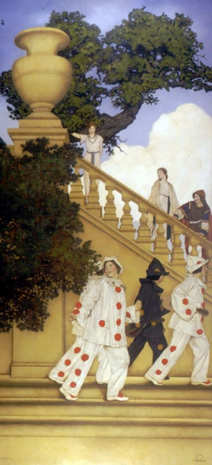 """Maxfield Parrish, """"A Stairway to Summer"""", 1912. One of 18 murals of """"Florentine Fete"""", 1910-1916.  Rose Garden Loggia at National Museum of American Illustration in Newport, RI.:"""