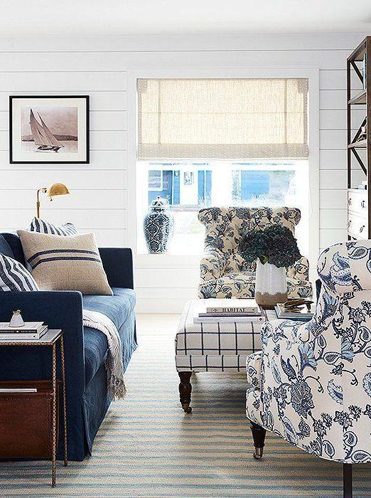 A Blogger S Nautical Inspired Home Makeover Nautical Living Room Beach House Living Room Coastal Living Room