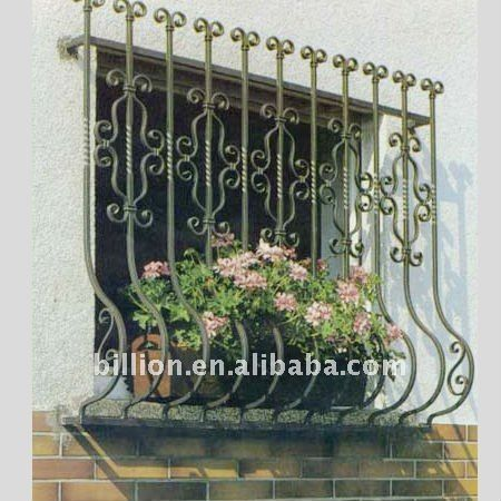 Decorative wrought iron window grill design buy wrought for Balcony safety grill designs
