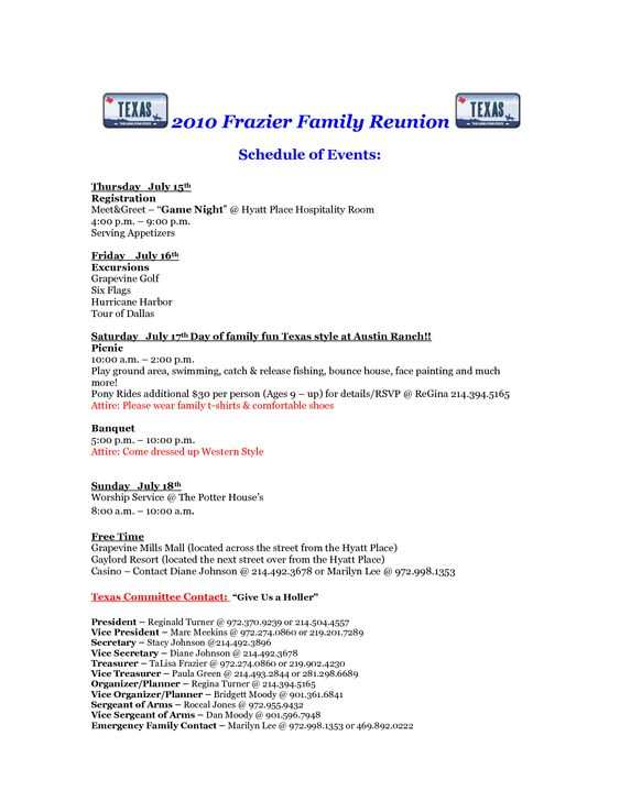 2016 Family Reunion Agenda Family reunions, Genealogy and Family - family reunion letter templates