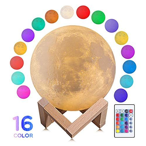 Amazon Com Moon Lamp Moon Night Light 5 9 Inch 3d Moon Lamp With Stand 16 Colors Warm And Cool Lighting Remote Cool Lighting Night Light Kitchen Lamp Shades