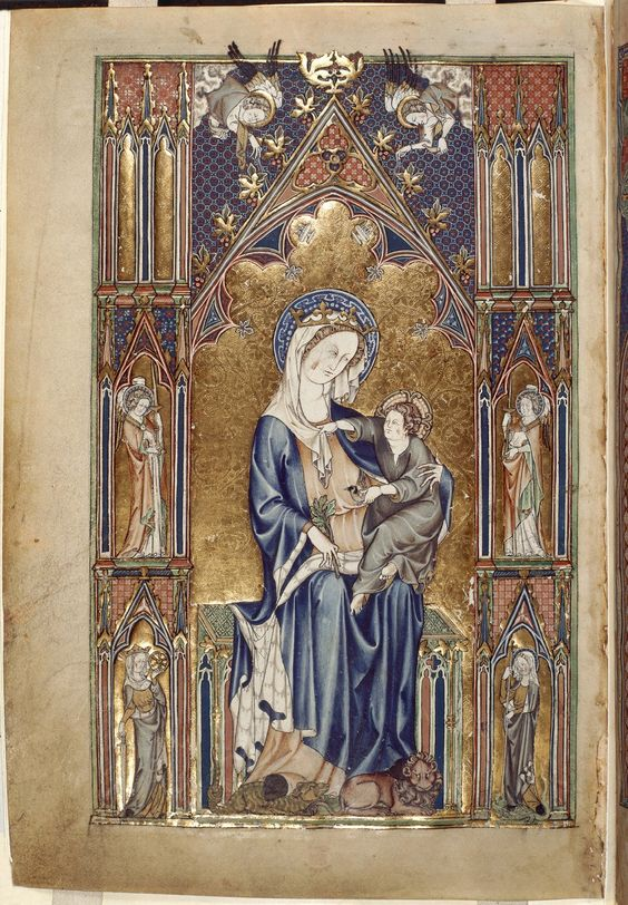 Miniature of the Virgin and Child, from the De Lisle Psalter (Arundel 83 II). The Virgin, her feet resting on a dragon and a lion, is holding the Child. They are seated in an elaborate Gothic arched canopy, with niches containing two angels carrying candels, and the figures of Catherine of Alexandria and Margaret of Antioch.