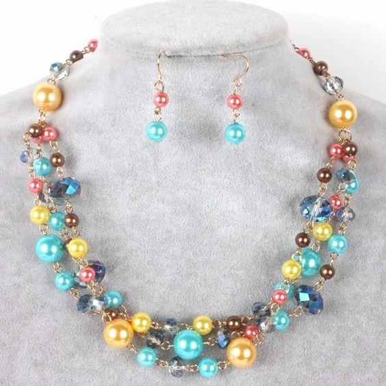 Set Collar Pulsera Y Aretes Perla Y Cristal Bisuteria Fina , $ 155.00 en MercadoLibre