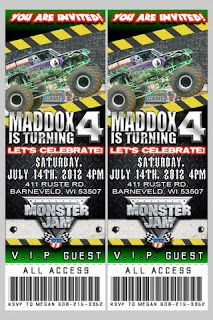 """Monster truck party - cute """"ticket"""" invites"""