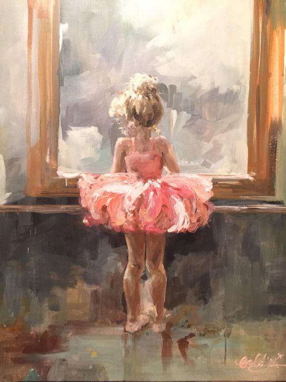 Custom ballerina acrylic painting original Size TBD by SurLaToile