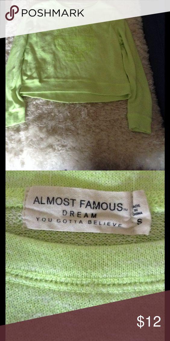 Almost Famous sweatshirt Cute owl lime green Almost Famous small sweatshirt Almost Famous Tops Sweatshirts & Hoodies