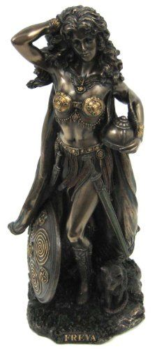 Freyja (Freya) Norse Goddess of Love, Beauty and Fertility, Real Bronze Powder Cast Statue, 10 1/2-inch by metapot.com, http://www.amazon.com/dp/B001UHM5IW/ref=cm_sw_r_pi_dp_Nnkvqb14CA80N