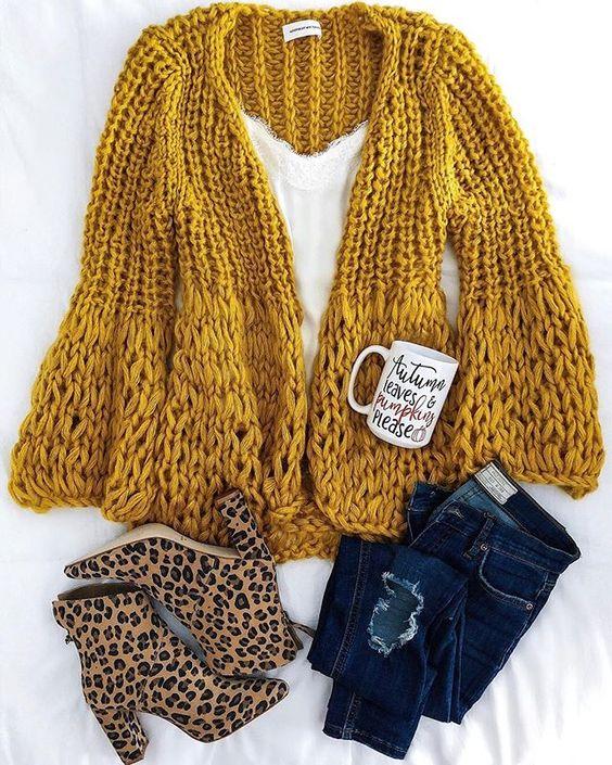 The perfect fall look: Chunky knit cardigan, leopard booties, fall coffee mug #fallstyle
