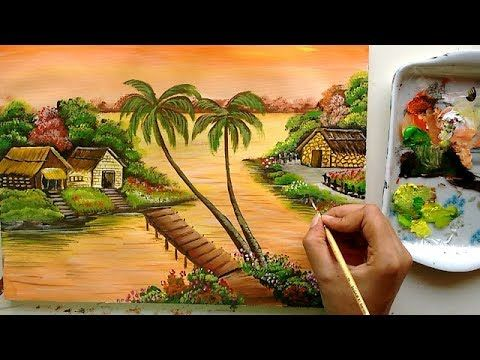 Riverfront Village Painting Acrylic Painting Tutorial Landscape Painting Youtube Painting Tutorial Landscape Paintings Colorful Landscape Paintings