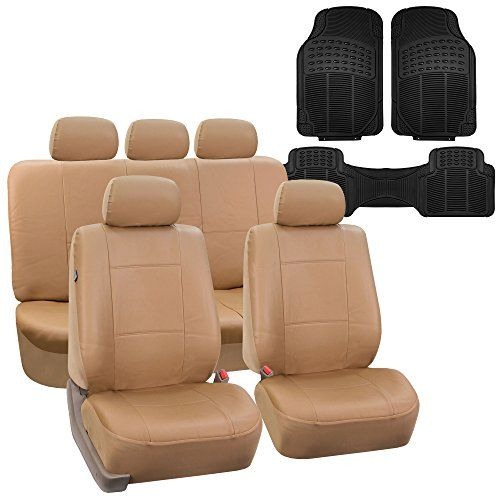 Fh Group Fhpu002115 Classic Pu Leather Beige Car Seat Covers Beige Black Airbag Compatible And Split B Leather Seat Covers Leather Car Seat Covers Seat Covers