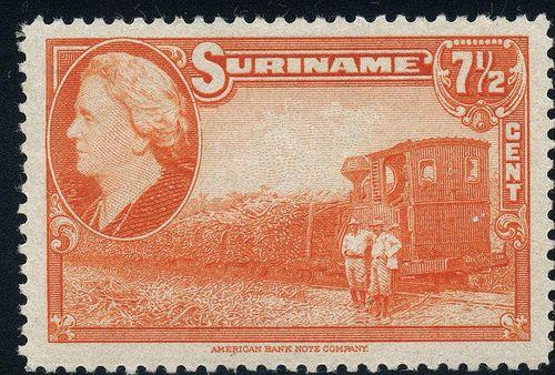 Suriname, 1945, sugar cane train, American Bank Note Company