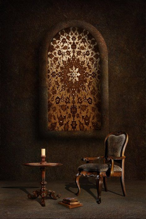 Soul search--(Love the way this was titled) Love everything about this. ...books, candles, a place to reflect, the image in the background....love all of it.: