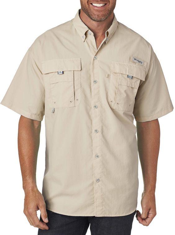 columbia men's bahama? ii short-sleeve shirt - fossil (l)
