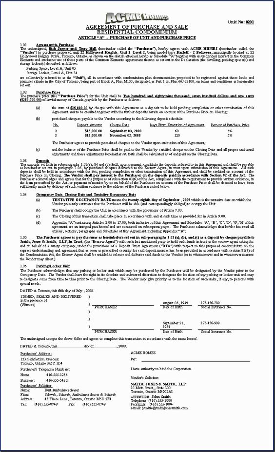 H.O.M.E.S. Sample Document: Purchase Agreement (Condo - First Page ...