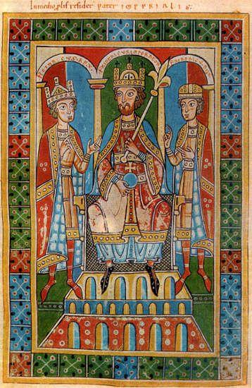 Friedrich Barbarossa mit seinen Söhnen Heinrich und Friedrich