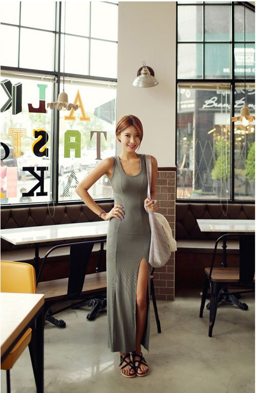 Women Beach Sleeveless Long Dress  -Bodycon. -Front Thigh Split Design.