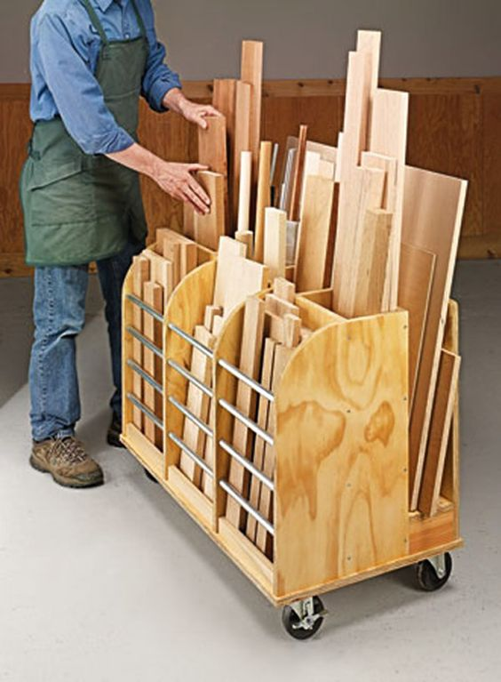 Diy mobile cutoff bin handy cart provides a home for all for Mobile lumber storage rack plans