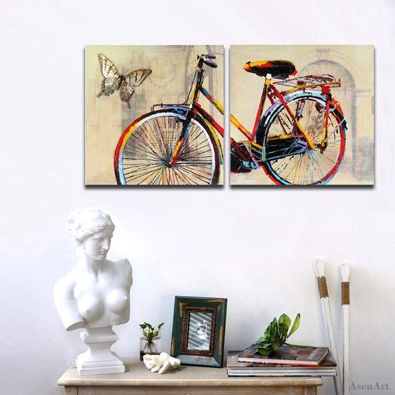 2-pcs-Bicicleta-Borboleta-Pinturas-Da-Lona-Pictute-Pintados-À-Mão-Pintura-A-&Oacute (800×800)