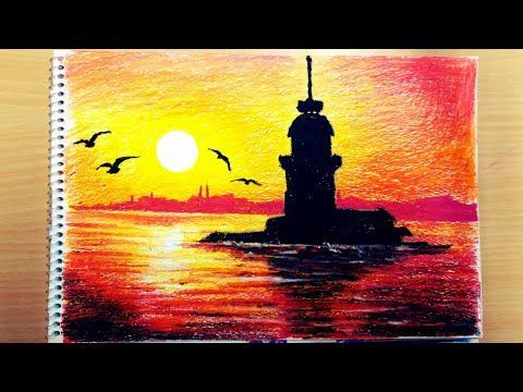Pastel Boya Kiz Kulesi Gun Batimi Youtube Pastel Boyalar Soyut Resim Tuval Soyut Akrilik Tablolar