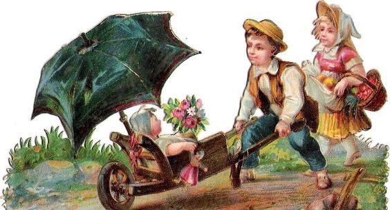 Oblaten Glanzbild scrap diecut chromo Kind child wheelbarrow umbrella Schirm kid: