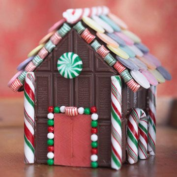 Hershey chocolate bar gingerbread house with sticks of gum for doors
