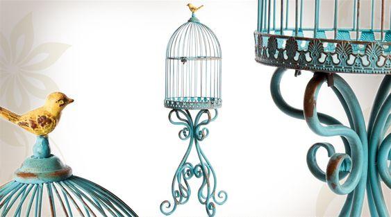 Cage à oiseaux sur pied style rétro coloris turquoise 91 cm