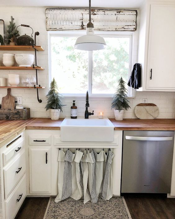 Butcher block countertops, farmhouse sink