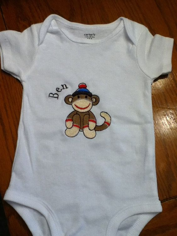 Sock Monkey Personalized Embroidered Onesie by mishacoledesigns, $20.00