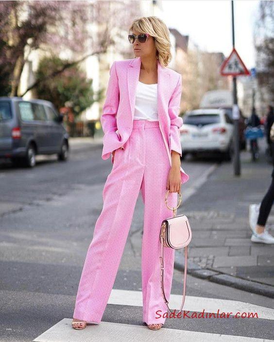 2020 Bayan Ceket Pantolon Kombinleri Seker Pembe Bol Kesim Pantolon Ve Ceket Beyaz Bluz Moda Stilleri Blazer Kiyafetler Moda Kiyafetler