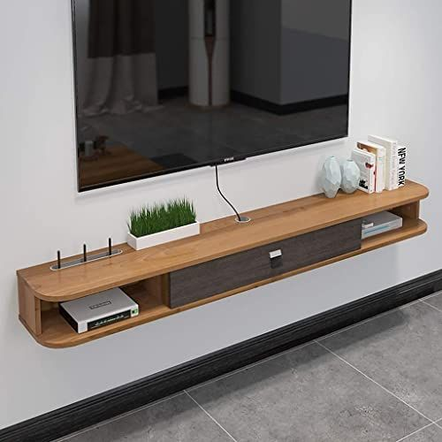 New Wall Shelf Floating Shelf Tv Shelf Wall Mounted Tv Cabinet Drawer Set Top Box Router Sky Box Tv Remote Control Cable Box Storage Shelf Color Walnut Colo In 2020 Wall