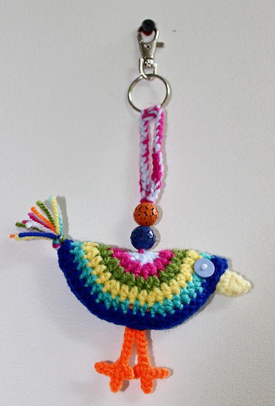Handmade Colourful Crochet Bird Keyring, keychain, key holder, key ring, key…
