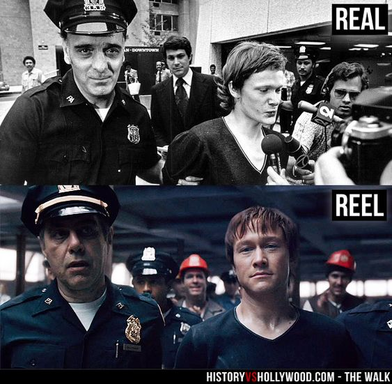 """Philippe Petit is arrested after his high-wire walk between the Twin Towers of the World Trade Center on August 7, 1974. Josph Gordon-Levitt is arrested as Petit in The Walk movie. Read """"The Walk: History vs. Hollywood"""" http://www.historyvshollywood.com/reelfaces/the-walk/"""