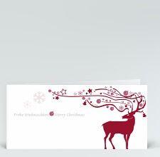 Weihnachtskarte: Hirsch mit ornamentalem Geweih rot