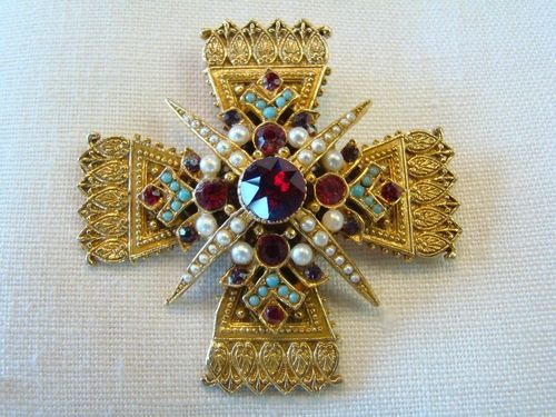"Vintage Maltese Cross Signed ""ART"" Brooch ~ Part of the Jewelry Collection at Tons of Treasures in Laguna Niguel"